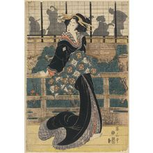 Kikugawa Eizan: Entertainer standing on a veranda. - Library of Congress