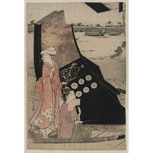 Hosoda Eishi: Sarumawashi performance on a boat. - Library of Congress