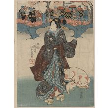 芳藤: A lady and a children's procession. - アメリカ議会図書館