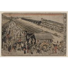 Chōkyōsai Eiri: Perspective print of the market on Odawaracho at Nihonbashi in Edo. - Library of Congress