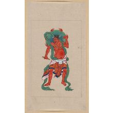 無款: [Mythological Buddhist or Hindu figure, full-length, standing, facing front, with long green sash and flaming green halo behind his head] - アメリカ議会図書館