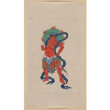 Unknown: [Mythological Buddhist or Hindu figure, full-length, standing, facing right, with long blue sash and flaming green halo behind his head] - Library of Congress