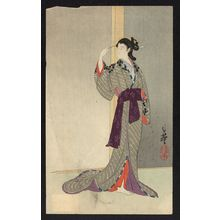 Migita Toshihide: Courtesan watching the rain. - Library of Congress