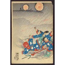 Utagawa Kokunimasa: Attack in a snowstorm on the 100 Shaku Cliff in Weihaiwei Bay. - アメリカ議会図書館