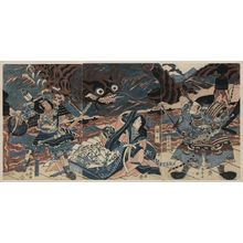 Katsukawa Shuntei: The warrior Fujiwara Hidesato battling the giant centipede. - Library of Congress