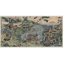 勝川春亭: Battle at the Nyoirin Hall (Nyoririn Temple) in Washū. - アメリカ議会図書館