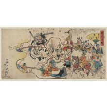 Kawanabe Gyōsai: A comic Buddhist rosary procession. - Library of Congress
