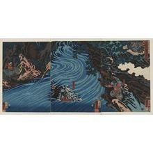 歌川国芳: Xuande rides a horse across Caoqi River. - アメリカ議会図書館