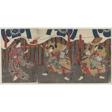 歌川豊国: Actors in the roles of Soga no Jūrō Sukenari, Soga no Gorō Tokimune, and Tegoshi no Tsukuna. - アメリカ議会図書館
