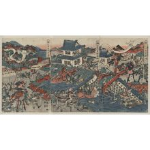 Katsukawa Shuntei: The warrior Kusunoki barricading himself into Akasaka Castle. - Library of Congress