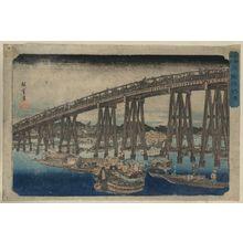 歌川広重: Cooling off at Ryōgoku Bridge. - アメリカ議会図書館