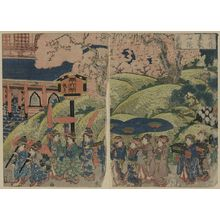 歌川国安: View of cherry blossoms at Toei Hill in Ueno. - アメリカ議会図書館