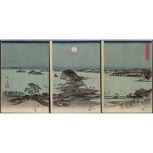 歌川広重: Evening view of the eight famous sites at Kanazawa in Musashi Province. - アメリカ議会図書館
