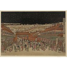 歌川豊春: Perspective picture of famous places of Japan: Nakanocho in Shin-Yoshiwara. - アメリカ議会図書館