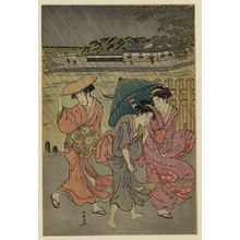 Katsukawa Shuncho: Three beauties in the rain. - Library of Congress