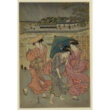勝川春潮: Three beauties in the rain. - アメリカ議会図書館