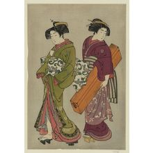 Kitao Shigemasa: Geisha and a servant carrying her koto. - Library of Congress