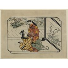 菱川師宣: [Two lovers embracing in front of a painted screen] - アメリカ議会図書館
