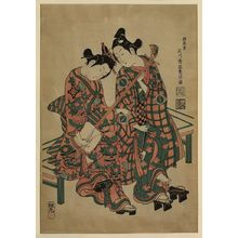 石川豊信: [Two musicians seated on a bench, wearing geta] - アメリカ議会図書館