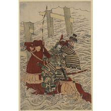 北尾重政: Sasaki no Takatsuna at the Battle of Uji River. - アメリカ議会図書館