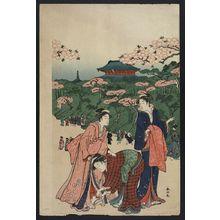 勝川春山: Viewing cherry blossoms at Ueno. - アメリカ議会図書館