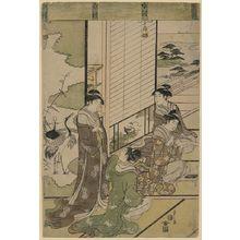 細田栄之: [Four women composing poetry, possibly as a competition, next to a screen with painting of cranes] - アメリカ議会図書館