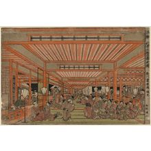 歌川豊春: Perspective picture of cleaning out in Shin-Yoshiwara. - アメリカ議会図書館