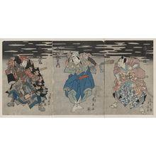Ryūsai Shigeharu: Arashi Rikan as Mashiba Hisatsugu [left]; Nakamura Utaemon as Hakusho, Gosaku who is actually Ishikawa Goeimon [center]; Ichikawa Hakuen as Hayawaza Masazaemon [right]. - アメリカ議会図書館