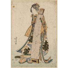 Katsushika Hokusai: Young maiden holding a zither (koto). - Library of Congress