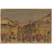 Utagawa Toyoharu: Perspective picture of night show at the opening-of-the-season performance at Fukiyacho and Sakaicho. - Library of Congress