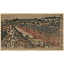 歌川豊春: Perspective picture of hall of thirty-three bays, Fukagawa in Edo. - アメリカ議会図書館