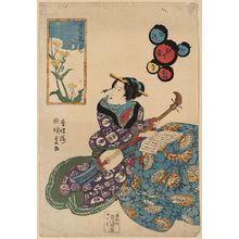 歌川豊国: Butterfly on rape blossoms [nanohana]. - アメリカ議会図書館