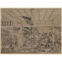 Utagawa Toyoharu: Perspective picture of Minamoto Raikō battling the giant spider and its demons. - Library of Congress
