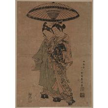 石川豊信: The actors Sanogawa Ichimatsu and Segawa Kikunojō as lovers beneath an umbrella. - アメリカ議会図書館