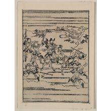 菱川師宣: [Scenes related to the Soga family - a warrior on horseback with retainers leading and following him] - アメリカ議会図書館