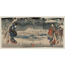 歌川豊国: A modern version of the Tale of Genji in snow scenes. - アメリカ議会図書館