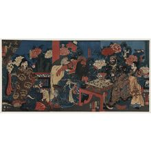 Utagawa Kuniyoshi: A scene showing the Doctor Huatuo attending to the warrior Guanyu's arm wound. - Library of Congress