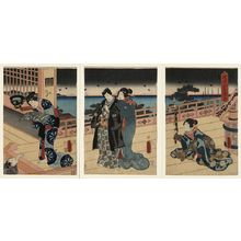 Utagawa Toyokuni I: Sunrise at the vacation cottage in Naniwa. - Library of Congress