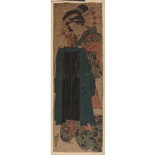 渓斉英泉: Courtesan holding a customer's coat. - アメリカ議会図書館