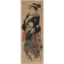 渓斉英泉: Woman holding a brush. - アメリカ議会図書館