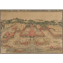 歌川豊春: A perspective picture of Itsukushima Shrine. - アメリカ議会図書館