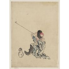 Katsushika Hokusai: [A traveler, seated, wearing a robe, boots, and rounded-top conical hat, smoking a long pipe; a small bag is on the ground next to his feet] - Library of Congress