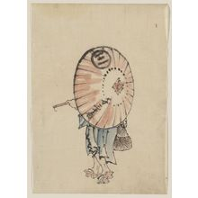 Katsushika Hokusai: [A person walking to the left, mostly obscured by an open parasol carried over the shoulder, wearing kimono and geta, and carrying a bag in right hand] - Library of Congress
