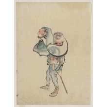 Katsushika Hokusai: [A man walking to the left, with a large hat resting on his back and wearing sandals, holding a short staff possibly used to propell a boat] - Library of Congress