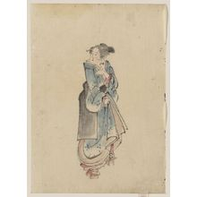 葛飾北斎: [A woman walking to the right, full-length portrait, facing left, wearing kimono and geta] - アメリカ議会図書館