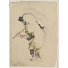 葛飾北斎: [A man walking to the left, wearing a large conical hat and a straw or feather garment, carrying a long handled tool over his right shoulder] - アメリカ議会図書館