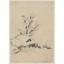 葛飾北斎: [Buildings and large tree on the waterfront, with two boats anchored offshore] - アメリカ議会図書館