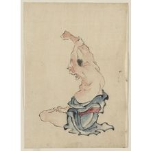 葛飾北斎: [A man, bare-chested, sitting cross-legged with arms raised over his head, stretching or practicing yoga(?)] - アメリカ議会図書館