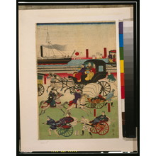 Utagawa Kuniteru: Display of vehicles in Takanawa, Tokyo. - Library of Congress