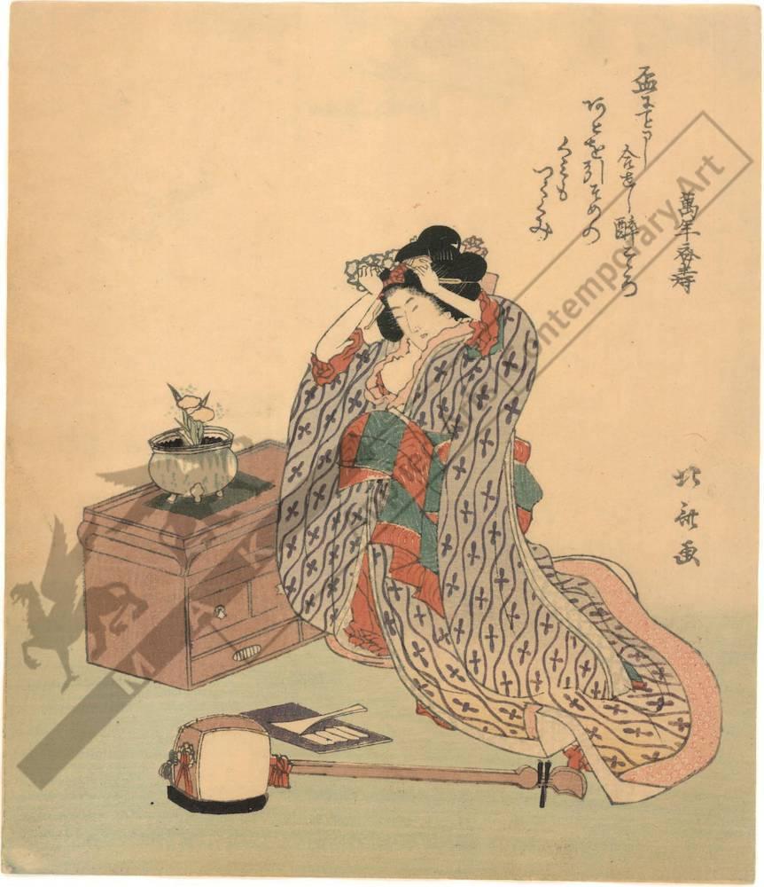 Katsushika Hokusai: Woman with shamisen (title not ... Hokusai Woman